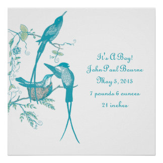 Baby Stats It's A Boy! New Baby Announcement Poster