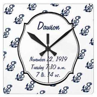 Baby Stats Nautical Navy Anchor Pattern Square Wall Clock