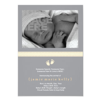 """Baby Steps Birth Announcement - Creamsicle 5"""" X 7"""" Invitation Card"""