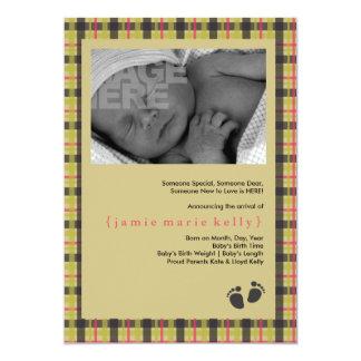 Baby Steps Birth Announcement - Green Plaid