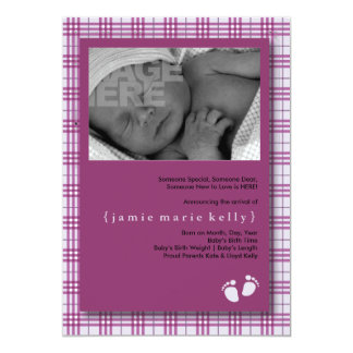 Baby Steps Birth Announcement -Light Purple Plaid