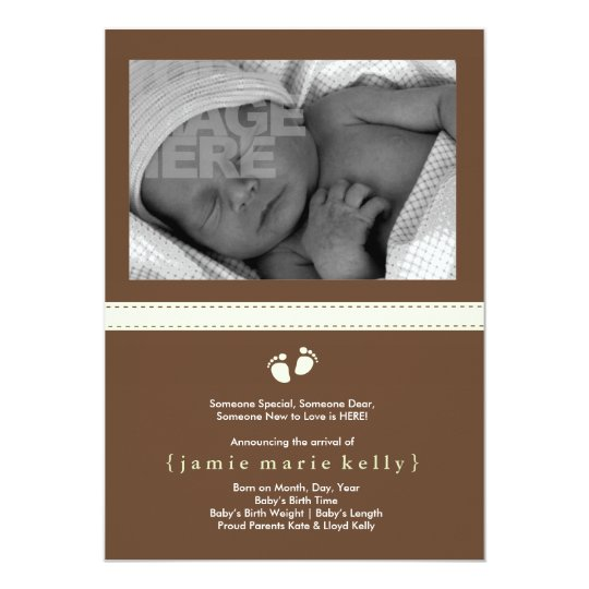 Baby Steps Birth Announcement - Mint