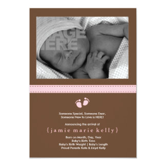 """Baby Steps Birth Announcement - Pink 5"""" X 7"""" Invitation Card"""