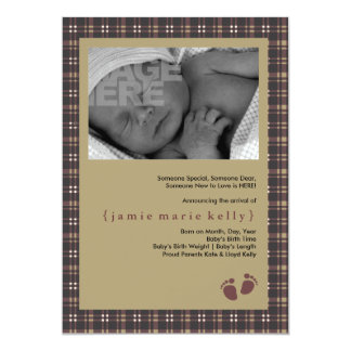 Baby Steps Birth Announcement - Purple Plaid
