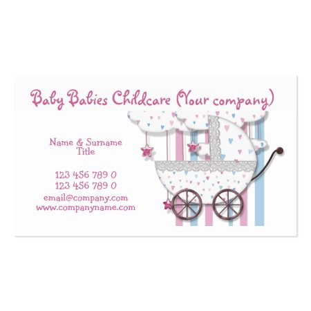 Pink and Blue Whimsical Hearts and Clouds Baby Stroller Baby Store Business Cards