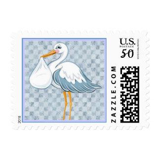 Baby Stork Blue Postage Stamp
