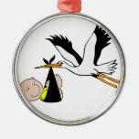 Baby & Stork - Bundle of Joy Round Metal Christmas Ornament