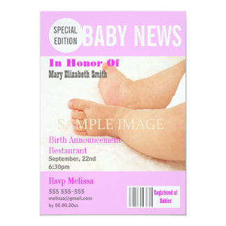"""Baby stork party magazine style PERSONALIZE 5"""" X 7"""" Invitation Card"""
