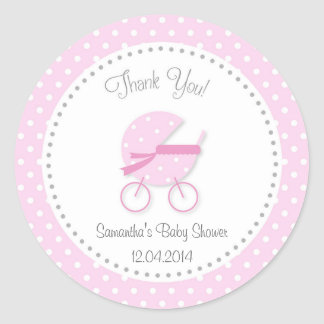 Baby Stroller Baby Shower Sticker Pink