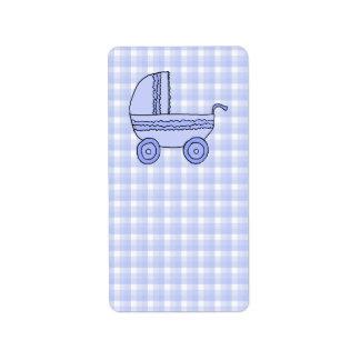 Baby Stroller. Light Blue on Check Pattern. Address Label