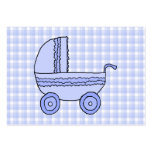 Baby Stroller. Light Blue on Check Pattern. Large Business Cards (Pack Of 100)