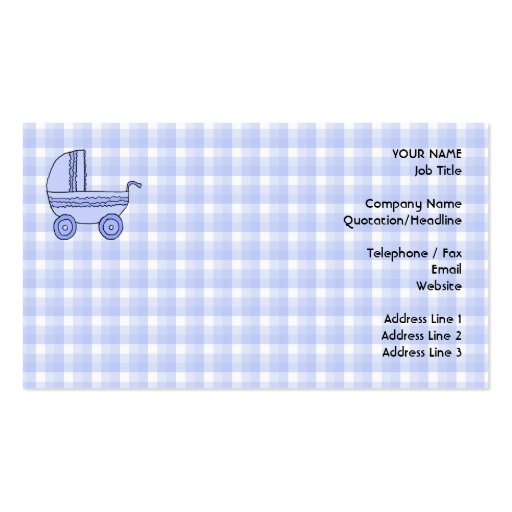 Baby Stroller. Light Blue on Check Pattern. Double-Sided Standard Business Cards (Pack Of 100)