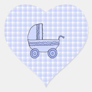 Baby Stroller. Light Blue on Check Pattern. Heart Sticker