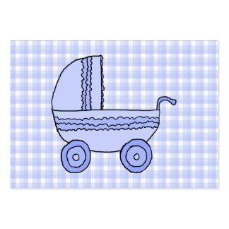 Baby Stroller. Light Blue on Check Pattern. Large Business Card