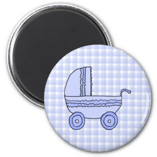 Baby Stroller. Light Blue on Check Pattern. 2 Inch Round Magnet