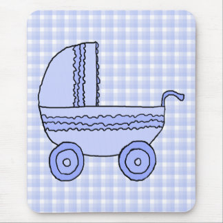 Baby Stroller. Light Blue on Check Pattern. Mouse Pad