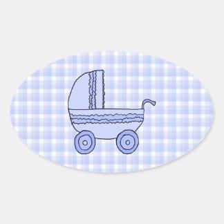 Baby Stroller. Light Blue on Check Pattern. Oval Sticker