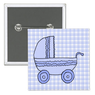 Baby Stroller. Light Blue on Check Pattern. Pinback Button