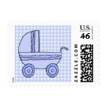 Baby Stroller. Light Blue on Check Pattern. Postage Stamps