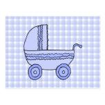 Baby Stroller. Light Blue on Check Pattern. Postcards