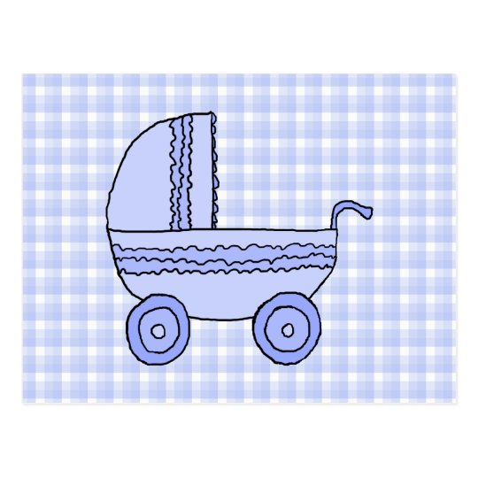Baby Stroller. Light Blue on Check Pattern. Postcard