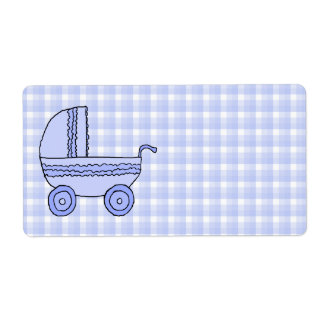 Baby Stroller. Light Blue on Check Pattern. Shipping Label