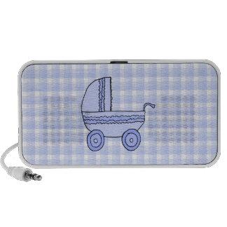 Baby Stroller. Light Blue on Check Pattern. Mp3 Speakers