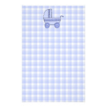 Baby Stroller. Light Blue on Check Pattern. Stationery