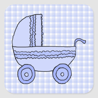 Baby Stroller. Light Blue on Check Pattern. Square Stickers