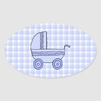 Baby Stroller. Light Blue on Check Pattern. Sticker