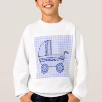 Baby Stroller. Light Blue on Check Pattern. Sweatshirt