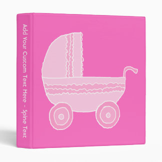 Baby Stroller. Light Pink and Bright Pink. Binder