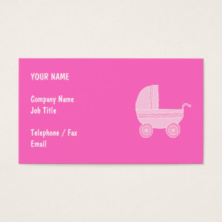 Baby Stroller. Light Pink and Bright Pink. Business Card