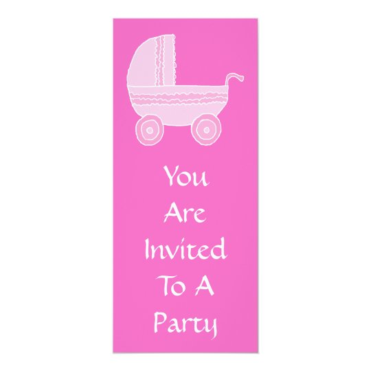 Baby Stroller. Light Pink and Bright Pink. Card