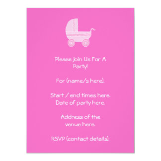 Baby Stroller. Light Pink and Bright Pink. Custom Invite