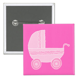 Baby Stroller. Light Pink and Bright Pink. Pinback Button