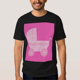 Baby Stroller. Light Pink and Bright Pink. Tee Shirt
