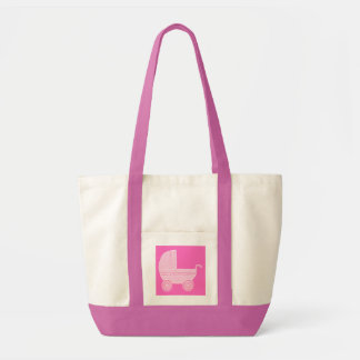Baby Stroller. Light Pink and Bright Pink. Tote Bag