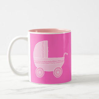 Baby Stroller. Light Pink and Bright Pink. Two-Tone Coffee Mug