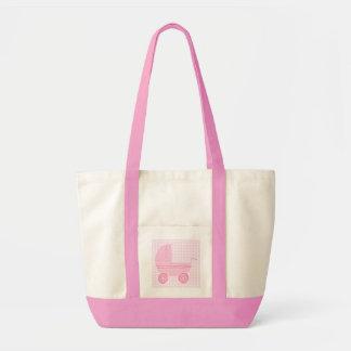 Baby Stroller. Light Pink on Pink Gingham. Impulse Tote Bag