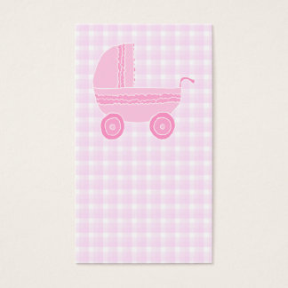 Baby Stroller. Light Pink on Pink Gingham. Business Card