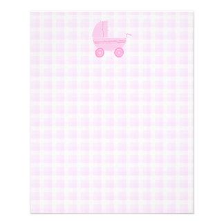Baby Stroller. Light Pink on Pink Gingham. Flyer