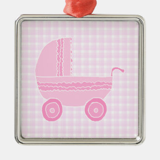 Baby Stroller. Light Pink on Pink Gingham. Christmas Ornaments