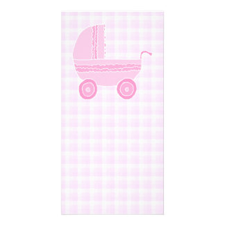 Baby Stroller. Light Pink on Pink Gingham. Photo Card