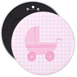 Baby Stroller. Light Pink on Pink Gingham. Pinback Button