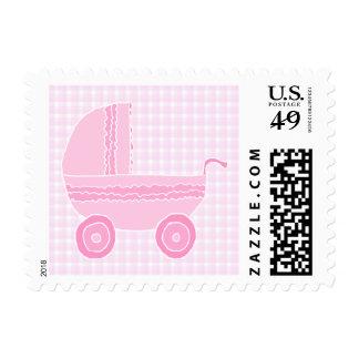 Baby Stroller. Light Pink on Pink Gingham. Postage Stamp