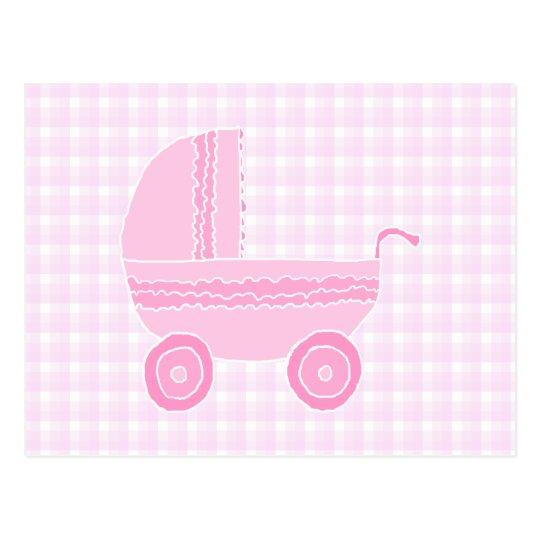 Baby Stroller. Light Pink on Pink Gingham. Postcard