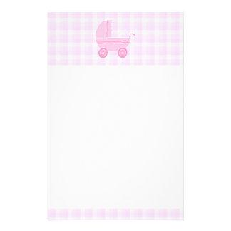 Baby Stroller. Light Pink on Pink Gingham. Stationery Design