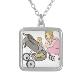 Baby Stroller Mom Silver Plated Necklace
