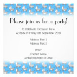 Baby Stroller Pattern on Blue. Personalized Announcements